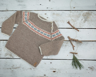 Hand Knit Baby Sweater / Children alpaca wool sweater / Camel