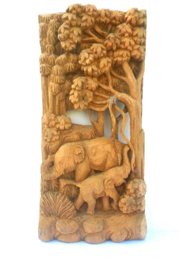 Hand carved elephant wood carving elephants natural teak