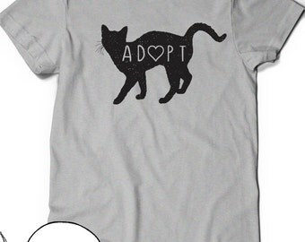Adopt Cat T-Shirt T Shirt Tee Mens Womens Ladies Crazy Cat Lady Guy Kitty Funny Gift Present I love cats Pet Adoption Kitty Rescue Meow Save