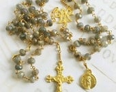 Rosary - Labradorite Saint Mary Magdalene Rosary - 18K Gold Vermeil Crucifix & Center