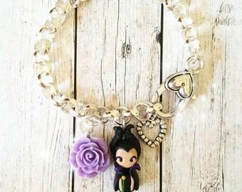 Maleficent disney inspired bracelet with flower,Disney Villain inspired. Disney bracelet Disney jewelry. Clay charm.Sleeping beauty princess