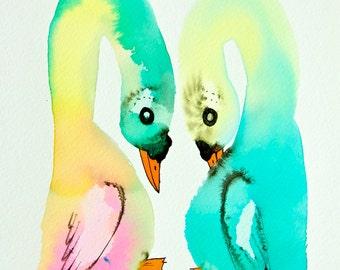 Swans nursery art, original ink drawing, colorful artwork