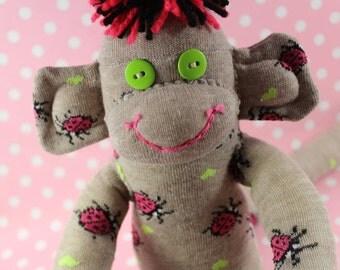 Sock Monkeys / Ladybugs / Hearts / Pink, Green, Black, Tan / Ladybug Decor / Ladybug Nursery / Gifts for Gardener / Gifts for Her / Unique