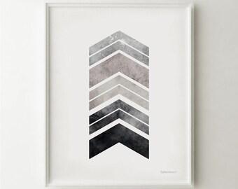 Gray art PRINTABLE wall art print, Bedroom decor, Gray chevron arrows art print, Gray wall art, Gray decor, Geometric print, 8x10 Wall Print