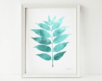 Leaf art print Printable art, Bathroom wall art, Bedroom wall decor, 8x10 PRINTABLE wall art print, Bathroom wall decor, Teal Home decor art