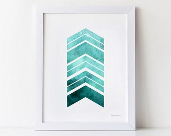 Teal Chevron arrows print, Geometric Printable art Modern Geometric print Turquoise Teal wall art, Powder room wall decor, Digital Download