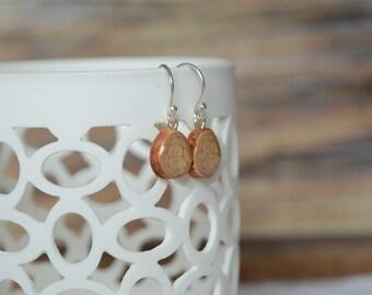 Golden wooden dangle earrings, sterling silver hook dangling earrings, dangle wood earrings for her, organic jewelry