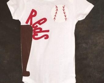 Personalized Cincinnati Reds Team Baseball Onesie