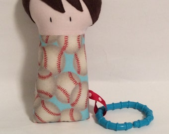 "Handmade Baby Boy Bobby 7.5"" Softie Stuffed Toy Fabric Teething Baby Shower Gift"