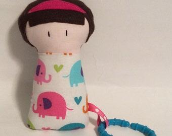 "Handmade Baby Girl Vivianne 7.5"" Softie Stuffed Toy Fabric Teething Baby Shower Gift"