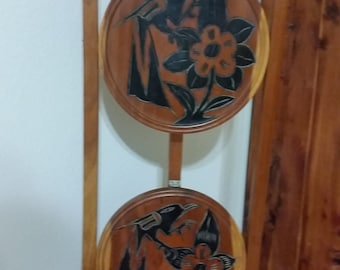 Vintage Wooden Pie Stand ~ Folding ~ 2 Tier ~ Hand Carved Crows & Flowers