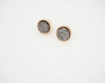 Dark Silver and Gold Druzy Stud Post Earrings