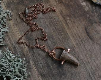 Antler necklace, antler tip necklace, antler tip pendant, primitive, boho, antler tip on chain necklace, simple antler necklace, antler tip