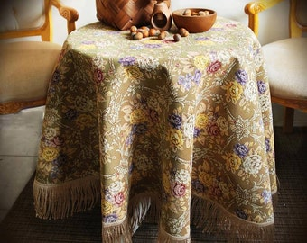 Jacquard Tablecloth Round Floral Classic Style for every Occasion