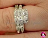 Art Deco Engagement Ring | Vintage Engagement Ring | Princess Halo Vintage Engraved Ring Set White Gold Plated |Size 6 7 8 9 10 #456