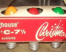 Christmas Light 5 Bulb Set by Westinghouse,D18, C-7.5,green,yellow, red, metallic blue, Vintage 1950s – 1960s - #138