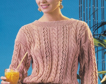 Vintage knitting pattern cable pattern sweater pdf INSTANT download pattern only pdf