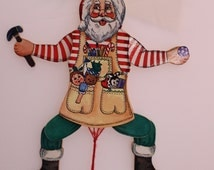 Vintage Articulated Santa Clause Toy Shop Ornament Working Santa