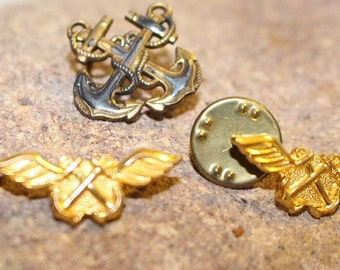Vintage Military Set of three pins Two Cartographer symbols and one Warrant Officer pin