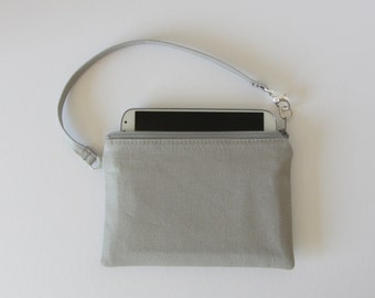 Wristlet Wallet in Gray Canvas Just the Right Size to Hold Most Cell Phones