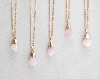 Rose Quartz Drop Necklace - 020500115