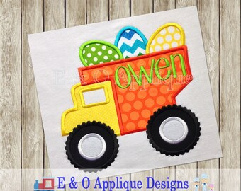 Dump Truck Easter Applique - Dump Truck Applique - Easter Applique - Easter Dump Truck Applique Design - Easter Embroidery Design