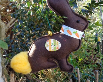 Hand made Brown felt Easter bunny rabbit hanging decoration