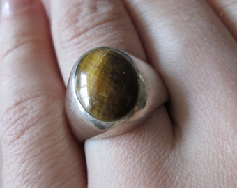 Mexico Tiger Eye vintage sterling silver Thick Ring size 7