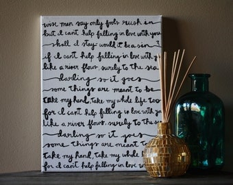 Can't Help Falling in Love - Elvis Lyric Painting 11x14