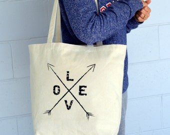 Love Arrows Tote.  Canvas Bag. Gift.