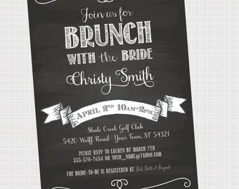 Bridal Brunch | Bridal Shower Brunch Invitation { Digital File } Chalkboard Wedding Shower Invite