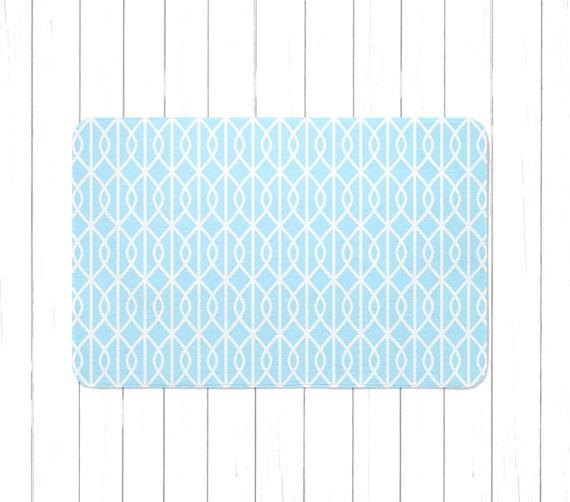 Aqua Light Blue Area Rug Or Bath Mat Children's Lattice