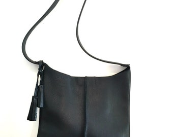 Leather crossbody, leather bag, crossbody leather bag, leather woman bag, leather handbag, leather bag BRI- BLACK!