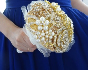 Gold Small Brooch Bouquet for bride or bridesmaids jeweled with silver wedding
