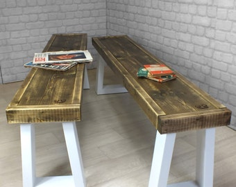 vintage industrial reclaimed rustic timber mid century bench seating Hairpin legs 1960s