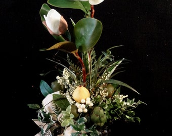 SALE Silk Flower Arrangement,Table Centerpiece,Magnolia Arrangment,Luxury Floral Arrangement, Elegant Floral Arrangement, Spring Arrangment