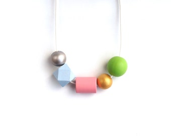 Wooden Geometric Bead Necklace - Geometric Jewelry - Wood Jewelry