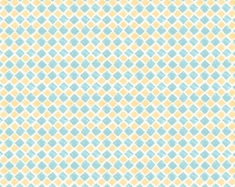 Blue Yellow Tile Fabric Yardage. Paris Forever Wilmington. Diagonal Blue & Yellow Tile Cotton Quilt Fabric. Spring Easter Fabric. Geometric.