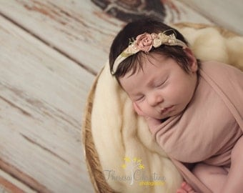 Blush and cream rosette tie back. Newborn tie back. Newborn photo prop.