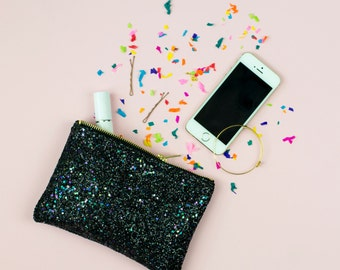 Midnight Black Glitter Party Clutch Purse Make Up Bag.