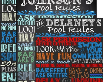 Custom Pool Rules sign, custom outdoor chalkboard style pool sign, pool rules sign, pool rules sign for home, pool decor ideas SGNOUT01