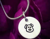 Dog Face Hand Stamped Necklace. Cute Necklace Dog Necklace Dog Jewellery Dog Lover Gift Animal Jewellery Pet Necklace Pet Jewellery