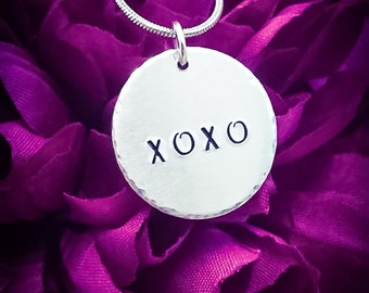XOXO Hugs and Kisses Hand Stamped Necklace. XOXO Necklace, XOXO Jewellery, Love Necklace, Love Jewellery, Girlfriend Gift, Kiss Necklace