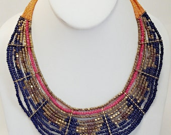 Navy Blue, Gold and Orange Statement Necklace / Multi Strand Necklace / Beaded Necklace.