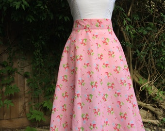 Belle - Pink Strawberry 50's Circle Skirt
