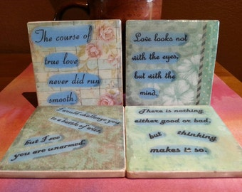 Typography Coasters -Shakespeare set of 4