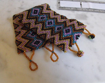 Woven Beaded Cuff, Geometric Patterned Wrap Bracelet