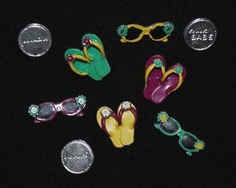 Beach Scrapbook Embellishments - Metal Flip Flops, Sunglasses -