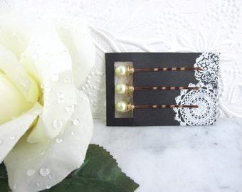Pearl Hair Pins - Gold Pearl Hair Pins - Cream Hair Pins - Off White Pearl Hair Pins - Wedding Accessory - Bridal Hair Pins - Cream Pearl