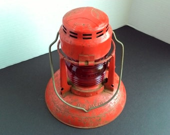 Vintage Dietz Traffic Gard Traffic Lantern M.C. Gas Co. No 40 Syracuse NY Ruby Red Globe ORIGINAL PAINT